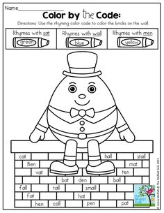 Color by the Code: Rhyming Words! Making Reading FUN with familiar nursery rhymes! Humpty Dumpty