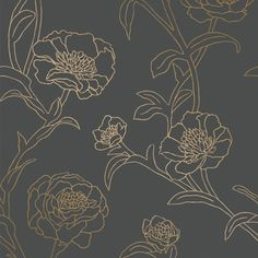 An artisan country lifestyle design of hand drawn peonies. Peonies NOIR has gold metallic flowers with a black background. Features: Self-Adhesive / Repositionable / Temporary Wallpaper Match Type: St