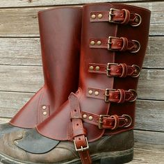 815fd8d6c4 Taller Swiss Military Style Gaiters or Spats in Glossy Cherry Leather  Antiqued Brass 5 Buckle Hardware