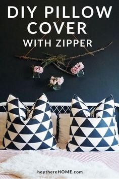 Learn how to make a pillow cover with a zipper in this easy tutorial for beginners. @heytherehome.com Sewing Pillow Cases, Diy Pillow Covers, Sewing Pillows, Sewing Tutorials, Sewing Projects, Diy Home Decor Projects, Perfect Pillow, Toss Pillows, Decorating On A Budget