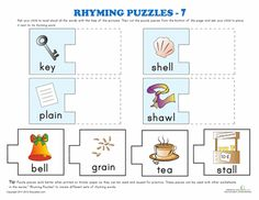 math worksheet : rhyming words puzzle 5  puzzles word puzzles and rhyming words : Kindergarten Puzzle Worksheets
