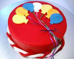 Love the colors of this simple balloon cake