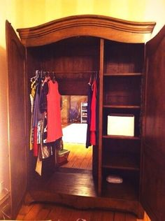 Carve out the back of an ordinary wardrobe, place it in front of the entrance to a room, and you have the passage to Narnia!