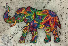 Elephant artwork mini watercolor elephant 2013 paintings a w Elephant Artwork, Elephant Love, Indian Elephant Art, Tribal Elephant, Mandala Elephant, Colorful Elephant, Tribal Art, Indian Art, Grafic Design