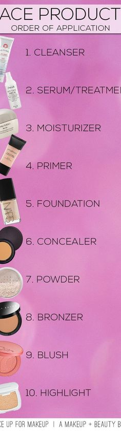 28 Useful Charts To Make Your Makeup Easier: #2. Proper Order to Apply Face Products