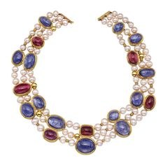 Pearl Tanzanite Rubellite Necklace | From a unique collection of vintage beaded necklaces at https://www.1stdibs.com/jewelry/necklaces/beaded-necklaces/