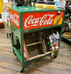 1929 Glascock Coca-Cola ice cooler, Christmas colors!