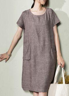 Gray natural linen sundress oversize summer linen maxi dresses plus size caftan
