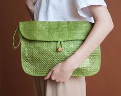 apple green oversized woven clutch / straw colorblock envelope