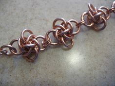 Copper Chunky chain maille Bracelet Persephone Web. via Etsy.