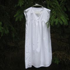 White Cotton Dress with Satin Lining by PlaneofImmanence on Etsy