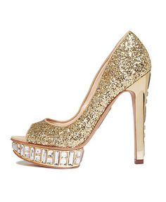 Peep this! BOUTIQUE 9 glittery gold peep toe pumps BUY NOW!