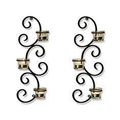 Adeco Brown Iron Vertical Wall Hanging Accents Candle Holder Sconce Auspicious Clouds Scrolls Holds 3 Pillar Candle each Set of Two -- You can get more details by clicking on the image.