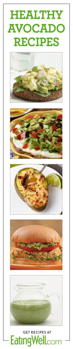 Dozens of healthy avocado recipes-- guacamole, sandwiches, dressings, salads, soups and more. Try these healthy avocado recipes for your next lunchtime salad or delicious dinner. Heart Healthy Recipes, Healthy Choices, Healthy Snacks, Vegetarian Recipes, Dinner Healthy, Guacamole Recipe, Avocado Recipes, Healthy Cooking, Healthy Eating