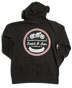 "Cafe Racer Bobber Motorcycle lightweight hooded Sweatshirt.   Our new ""Ride More Work Less"" MID weight zip front, hooded sweatshirt is perfect for the chill in the fall and winter air. Layered under your favorite riding jacket, this will cut the chill with out bulking up your outfit.  Screen printed large back graphic and small moto print on front chest."
