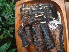 Pork ribs and beef ribs on the grill