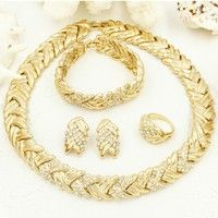 Wish | Life Tree Leaves Women's Fashion Accessories Dubai Gold Jewelry  Wholesale 18K Gold Plated Jewelry Sets Necklace Chokers Earrings AAAAA (Color: Gold)