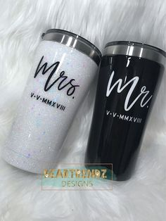 Epoxy Tumbler Glitter Tumbler Cup Stainless Steel Tumbler Travel Mug Cup Mr. and Mrs. Bride and Groo