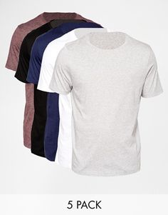 ASOS T-Shirt With Relaxed Fit 5 Pack SAVE 23%