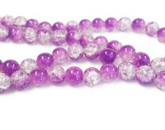 80 Purple & Clear Crackle Glass Round Beads 10mm, Suncatcher Beads, 2241, 311a by vickysjewelrysupply. Explore more products on http://vickysjewelrysupply.etsy.com