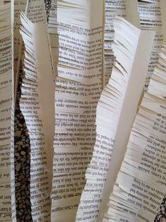 Hier heb ik uit mijn boek papier gehaald om er zoals je ziet gras van te maken om uiteindelijk in mijn boek te plakken en zo kan ik mijn rolstoel er in zetten. Ik heb dit gras gemaakt door strookjes papier eerst kort dubbel te vouwen en hierna met een schaar  knipjes erin te zetten zodat het net op gras lijkt, dit heeft erg goed uit weten te pakken