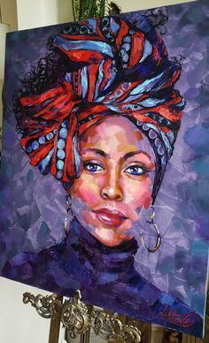 Abstract Portrait Painting, Portrait Art, Oil Painting On Canvas, Body Painting, Portraits, Canvas Art, African American Art, African Art, Art Sketchbook