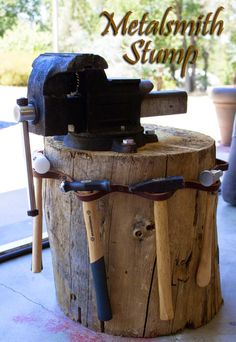 Isn't she a beauty? I love working at my metalsmith stump, creative juices flowing, and soaking up the beautiful Sierra Foothills. Although right now the temperature is 110 million degrees and if I