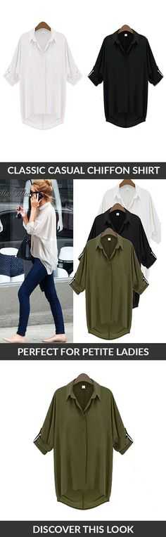 Your search for the perfect petite-friendly top is over. Stay warm but look cool as the weather gets colder with the Chill with Me Chiffon Shirt. The shirt's relaxed silhouette makes it perfect for lounging around, working in the office, or chilling out with friends. Pair with skinny jeans and cute flats for a versatile day-to-night look. Runs small and fits petite frames.