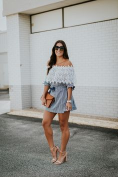 gingham off the shoulder dress, chicwish off the shoulder dress, chicwish dresses, embroidered dress, gingham dresses, summer dresses, summer outfits, summer fashion, summer style // grace wainwright a southern drawl