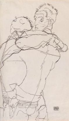 """Drawing by Egon Schiele (1890-1918), 1914, """"Embrace"""", Graphite."""