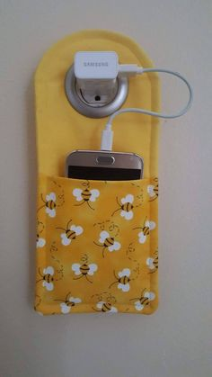 Your place to buy and sell all things handmade Bumble Bee Cell Phone charging station Small Sewing Projects, Sewing Hacks, Sewing Tips, Fun Projects, Sewing Tutorials, Fabric Crafts, Sewing Crafts, Diy Couture, Creation Couture
