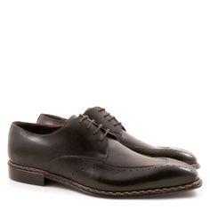Scarpe eleganti uomo a punta artigianali in pelle nero