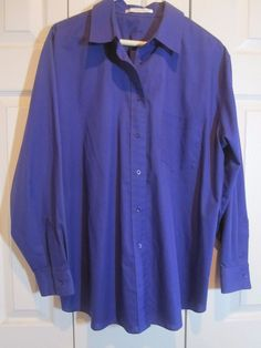 Foxcroft  Size 14W long sleeve royal purple blouse NWOT Career Poly/cotton #Foxcroft #Blouse #Career