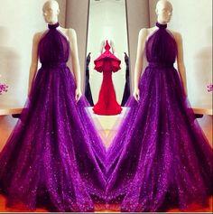 Plum sparkle tulle gown by fashion designer Michael Costello! Gorgeous!