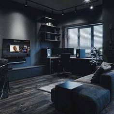 Apartment Living Room Ideas (Small, Modern, and College Living Room Design) Design Loft, Home Room Design, Dream Home Design, Home Office Design, Living Room Designs, Design Homes, Interior Design Career, Black Interior Design, Black Room Design