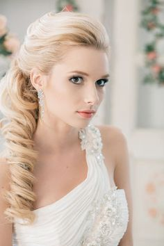 Wedding Hair Long twisted curl to one side