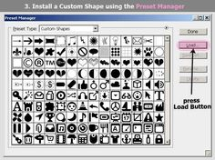 Install custom shapes in Photoshop using the Preset Manager. #tshirt #design