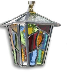 Multi Coloured Leaded Light Hanging Lantern