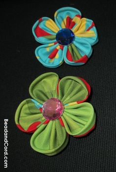 Hair Accessories : DIY Kanzashi Fabric Flower Hair Clips: How to Make 5 Petal Fabric Flower Hair Clips