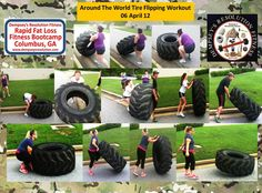 Tire Flipping Bootcamp Workout www. used to do this when i was… Tire Flipping Bootcamp Workout www. used to do this when i was a fighter, great workout! now, where to find disgarded tractor tires… Tire Flipping Workout, Tire Workout, Boot Camp Workout, Pilates Workout, Exercise, Hiit, Crossfit Home Gym, Crossfit Equipment, No Equipment Workout