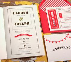 Red White Carnival Wedding Invitations 4 550x485 Lauren + Joes Red and White Carnival Wedding Invitations