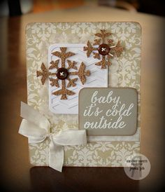 Card by Jessica Fick. Reverse Confetti stamp set: Seasonal Sentiments. Confetti Cuts: Let It Snow, Class Act and Pretty Panels Chevron. Christmas card. Snowflakes.