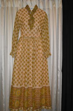 Vintage Eve Carver Original Brown Tan Cream Maxi Long Dress w/ Belt, Size 14.  $49 including free shipping