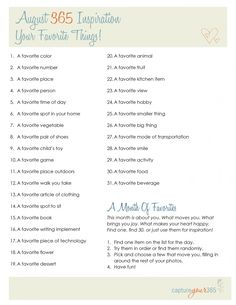 August 365 inspiration list from Katrina Kennedy. Love her lists!