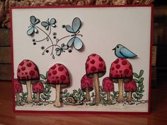Woodland Mushroom Scene with Butterflies a Bird and by cardstocker
