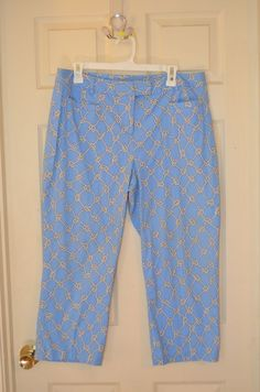 J. McLaughlin Blue Capri's with Nautical Knots-Size 14-EUC #JMcLaughlin #CaprisCropped