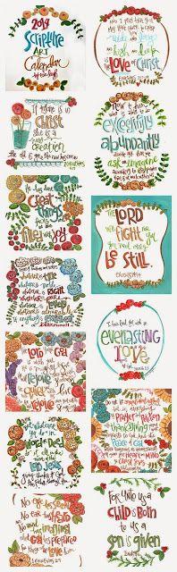 2014 Scripture art calendar  bible verse calendar art by erin leigh