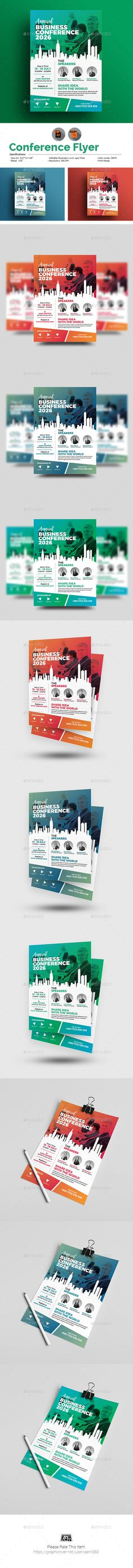 Business Conference Template Flyer Vector EPS, AI Illustrator
