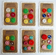Math idea for Button Counting (or any manipulative); write corresponding number in jar and child has to count out correct amount to match ~~use homemade buttons(homemade games and toys board)