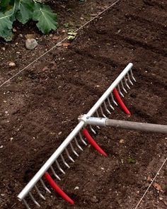 Attach short pieces of hose or plastic tubing to the metal rake, counting the tines so that the hoses are spaced equally. As you drag the rake across the prepared soil, you have an instant planting grid and row markers.